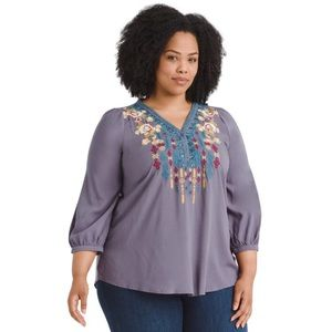 Andree by Unit Embroidered Top Peasant Boho 2X
